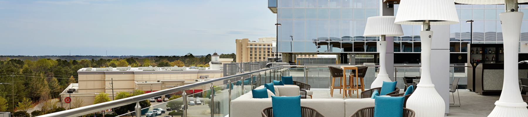 The rooftop lounge within Level 7, at the top of the AC Hotel